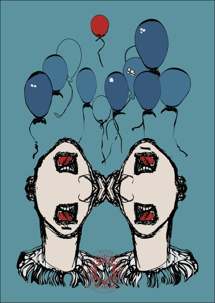 Illustration of party conversation, boring discussion, small talk, talking over, floating balloons. Rasa Matevicute.