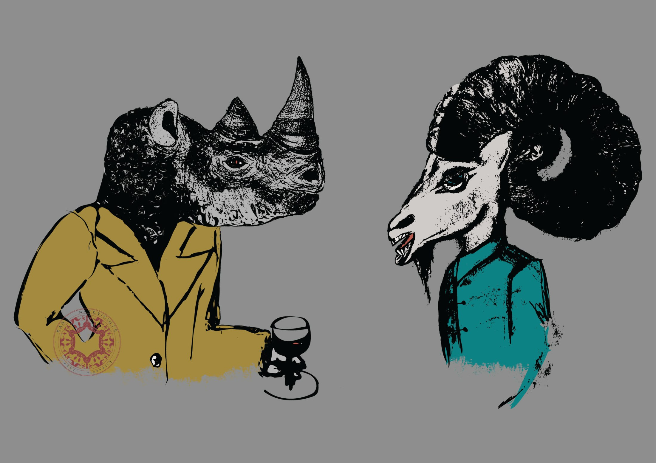 Illustration of rhino man and goat man business meeting, wearing suits and glass of wine, with massive horns. Rasa Mateviciute.